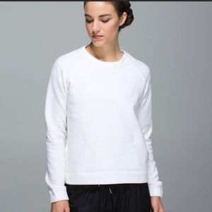 White Lululemon Sweater with Front Pocket Pouch, M